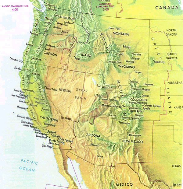western us map